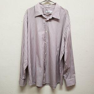 Calvin Klein Red & White Striped Shirt SZ XXL